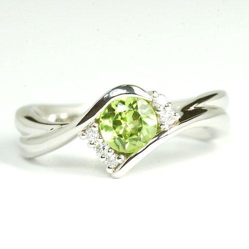 8月誕生石ペリドットとダイヤのフルオーダー婚約指輪/エンゲージリング 婚約指輪 NO.2