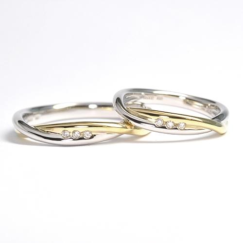 オーダーメイド・プラチナとゴールドのコンビデザインの結婚指輪 結婚指輪NO.30