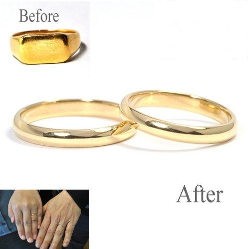 印台リングを溶かしてゴールド・結婚指輪製作(鍛造製作) 結婚指輪NO.27