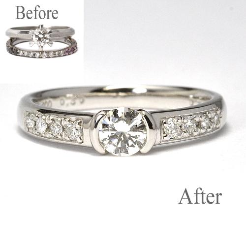 お手持ちの指輪を使用して婚約指輪製作 婚約指輪NO.31