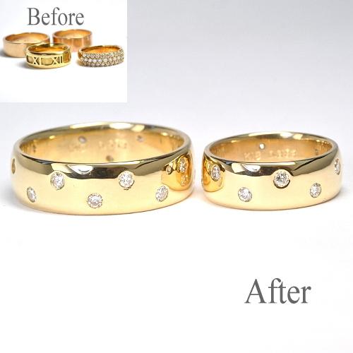 お母様から譲り受けた指輪を溶かしてオーダーメイド・結婚指輪製作(鍛造製作) 結婚指輪NO.28