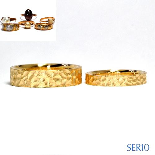 槌目模様のオーダーメイド・ゴールド・マリジリング(鍛造製作) 結婚指輪NO.32