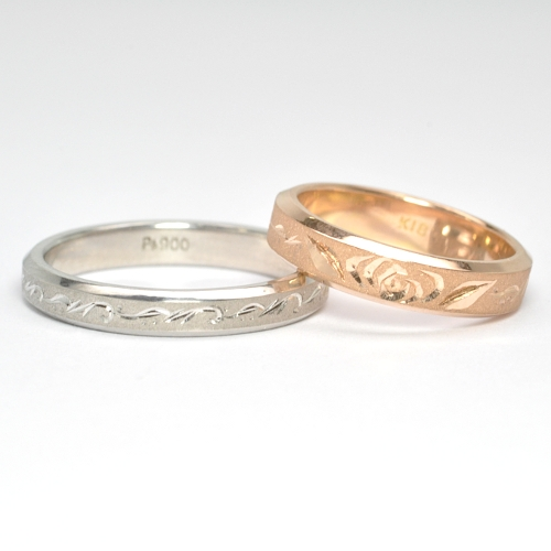 薔薇デザイン・結婚指輪