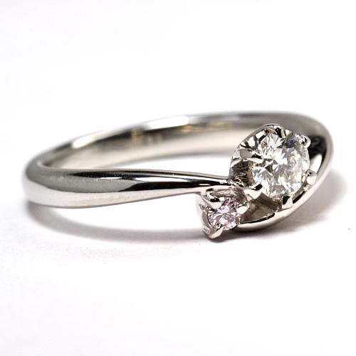 リフォーム・天然石ピンクダイヤ付婚約指輪