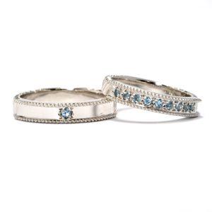 天然石ブルートパーズ・オーダーメイド・結婚指輪