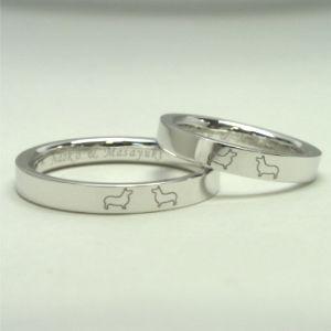 犬のモチーフ結婚指輪