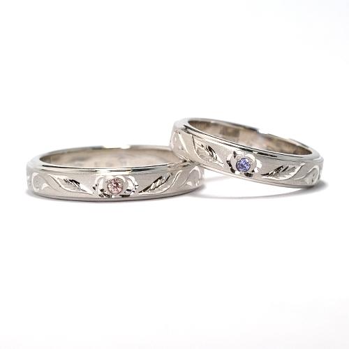 天然石ピンクダイヤとタンザナイトを使用したオーダーマリッジリング